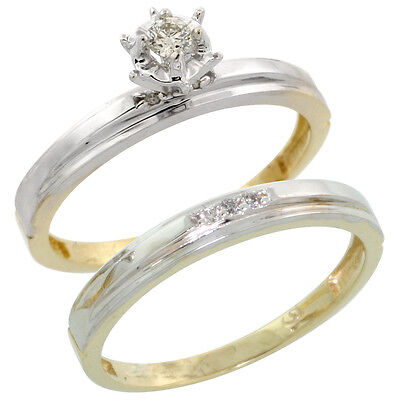 Gold Plated Sterling Silver Ladies 2-Piece Diamond Engagement Wedding Ring Set,