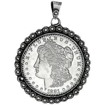 Sterling Silver Dollar Bezel 38 mm Coins Prong Back Flower Edge Mexican Olympic