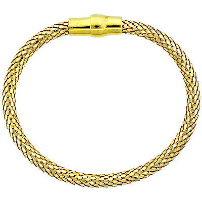 Sterling Silver Flexible Bangle Bracelet Magnetic Clasp Yellow Gold Finish, 3/16