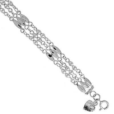 Sterling Silver Charm Bracelet with Triple Rows of Beads and Bars, fits 8 - 9