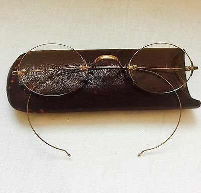 Antique GOLD Tone / Filled? Civil War Look RIMLESS Eyeglasses SPECTACLES w/ Case