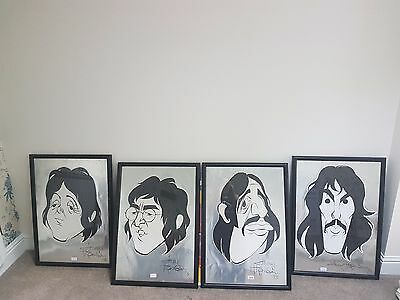 VERY RARE! Set of 4 framed caricature prints of THE BEATLES! Signed by artist.