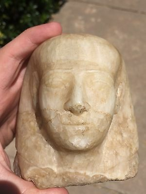 Ancient Egyptian Statuette Head Ptolemaic Period Guaranteed Original