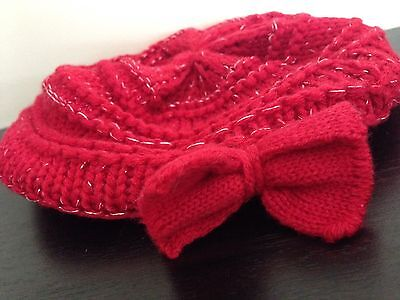 Baby Girl Hat Red Berry With Bow 3-6 Months TU