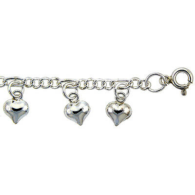 Sterling Silver Anklet with Dangling puffy Hearts, fits 9 - 10 inch ankles