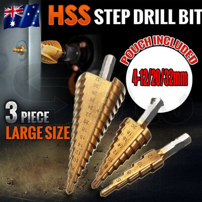 HOT 3PC HSS Step Cone Drill Bit Set Titanium Metric Hole Cutter 4-12/20/32mm MX