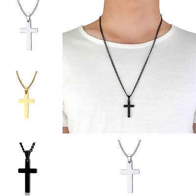 Alloy Gold/Silver Plated Men Necklace Stainless Steel Cross Pendant Link Chain