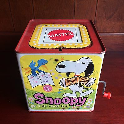 Vintage Snoopy In The Music Box Peanuts Mattel 1966 ~ Great Color ~ Works!