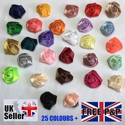 Lapel Rose Flower MENS WOMENS SMALL SATIN ROSE WEDDING SUIT BUTTON HOLE PIN TACK