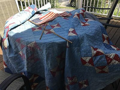 Moprimitivepast Antique Americana Quilt Hand Quilting Blues Red 4th July Prim