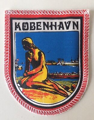 Copenhagen KOBENHAVN Denmark Little Mermaid State Souvenir Patch Badge vtg