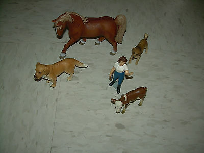 Lot of 5 Schleich Germany Farm  Animals Horse 2 Dogs Cow & 1 Person