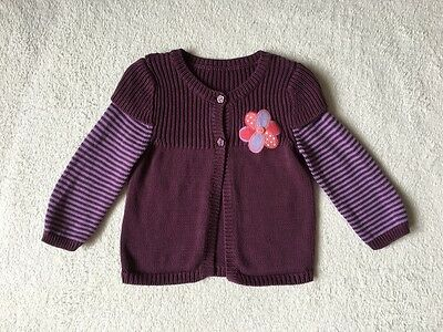 ***Mothercare girls Plum Flower cotton knitted cardigan 12-18 months VGC***