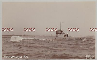 "Royal Navy Real Photo. HMS ""E6"" Submarine. Mined off Harwich in WW1. Fine! 1913"