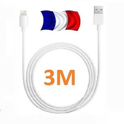 CABLE USB RENFORCE 3M CHARGEUR RECHARGE SYNC iPhone 5,5S,5C,6,6S,6+,6S+,7,7+