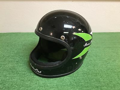 RARE Vintage ARTIC CAT Full Face Motorcycle HELMET BLACK Clean LARGE Bell TopTex