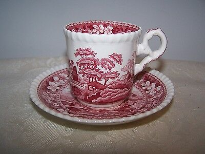 Beautiful Spode Pink Tower Expresso Demi Tasse Cup And Saucer - Pink Stamp