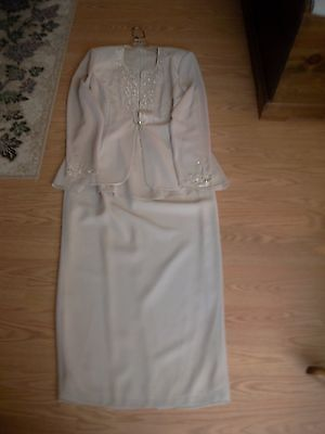 Women's Mother of the Bride Groom Dress With Jacket by R & M Richards Beige S 8