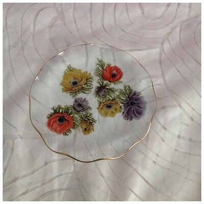 Vintage Chance Glass 'Anemone' Plate with Gold Fluted Rim, Michael Harris