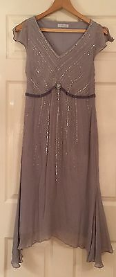 Precis Petite Silk Grey Dress Mother Of Bride - Size 14UK