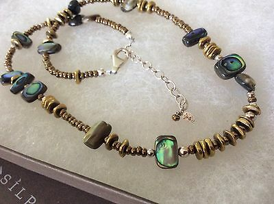 """Classic Silpada N1729 Sterling Silver, Abalone Shell and Bronze Beads 16"""" - 18"""""""