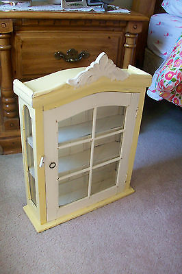 Antique Wood and Glass Wall Curio Display Case Cabinet