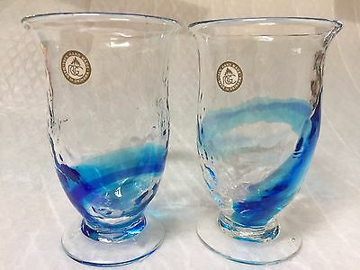 Set of 2 Japanese Okinawa Hand Made Ryukyu Glasses Sea Blue RGC