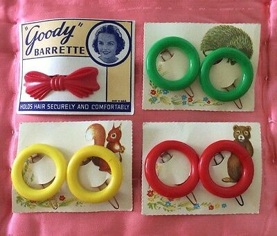 Vintage Hair Slides Barrettes 3 Sets & 1 Single Red Yellow Green