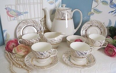 Elegant Alfred Meakin Coffee Set for 4 11 Pieces with Lovely Gilding