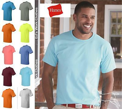 Hanes Mens Short Sleeve Cotton T Shirt Blank 5250 Up to 6XL Many Colors