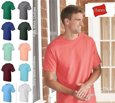 Hanes Mens Short Sleeve Cotton Blank Beefy T Shirt 5180 Heavy Up to 6XL