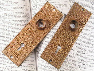 Pr Bronze Eastlake Victorian Door Plates WINDSOR RHCo Antique Hardware