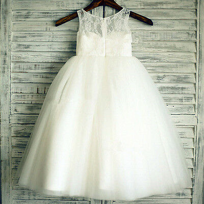 NEW Lace Tulle Flower Girl Dress Wedding Children Easter Bridesmaid Communion++#