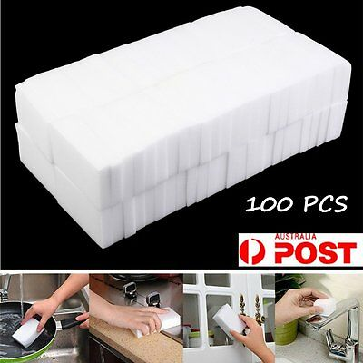 100 Magic Cleaning Sponge Eraser Cleaner Home Multi Functional Easy Cleaning MX