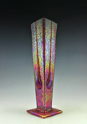 Glamorous Bohemian Art Deco Iridescent Large Glass Vase