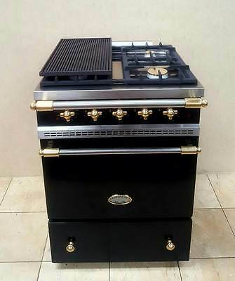 Lacanche 60Cm Dual Fuel Range Cooker In Black And Brass