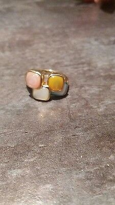 Fine 9ct gold modernist mother of pearl multi colour ring
