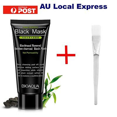 Brush + Removal Bamboo Charcoal Black Mask Blackheads Nose Face T-Area MX