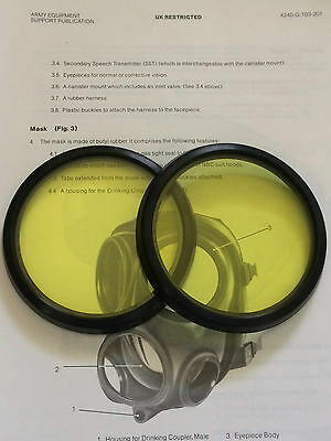 S10 Gas Mask  Respirator Amber Lenses Outserts