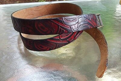 Vintage Haida Pacific NW Coast carved red black leather belt