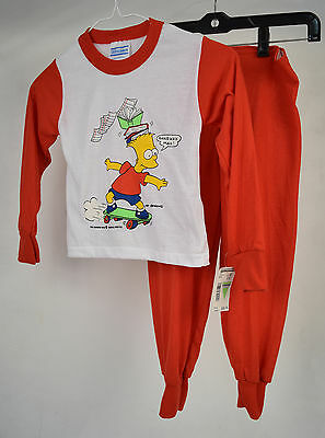 Pajama Set Bart Simpson Gangway Man White Red 5/6 Kids US Vintage 1990