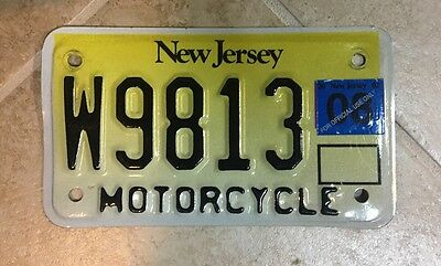 Original New Jersey Motorcycle license plate NJ White Yellow