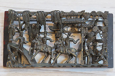 Chinese Gilt Lacquer Deep Wood Carved Carving Panel Plaque Warrior Horse Figures