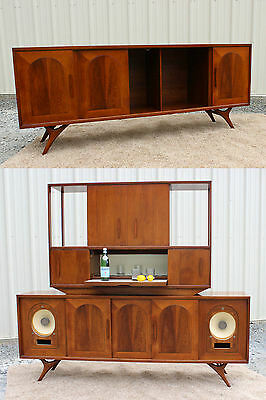 Fabulous Mid Century Danish Modern Walnut CREDENZA Sideboard with Bar!