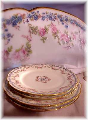 4 Antiq Haviland Limoges France 271 Lunch Dinner Plates Roses Forget Me Not Gold