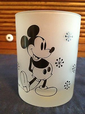 Walt Disney Productions Mickey Mouse Frosted Glass Or Candle Holder
