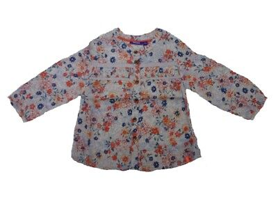 MEXX girls Blouse hot coral with Floral print Size 80 86 92