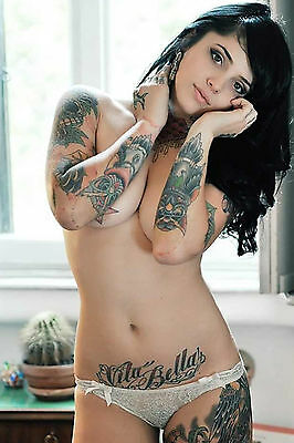 4x6 Photo Fine Art Beautiful Busty Tattoo Model Artistic Nude 10217-11