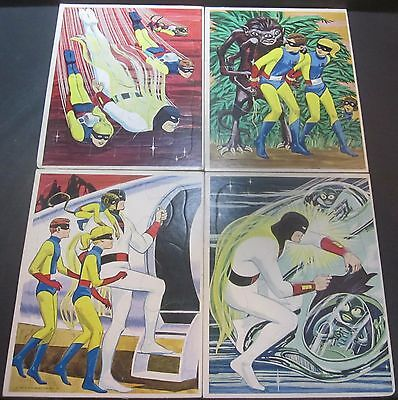 4 Space Ghost Frame Tray Puzzles Set 1967 Hanna Barbera Whitman Comic Character