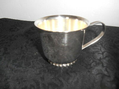 Charming Collectible Vintage Silver Plated Beaded Base Baby's Cup